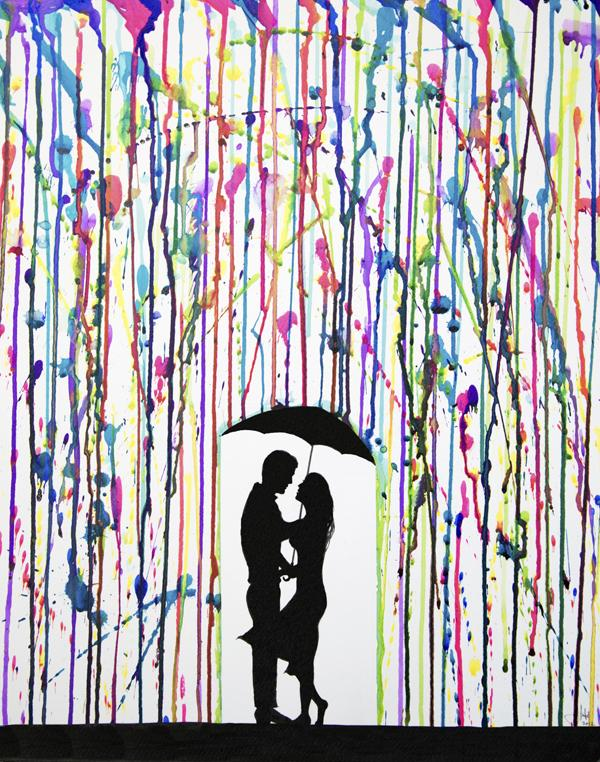 Couple Silhouette Umbrella Crayon Art This led me to the artwork ofCouple Silhouette Umbrella Crayon Art